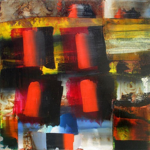 Etkins new paintings will be accompanied by stacked sculpture