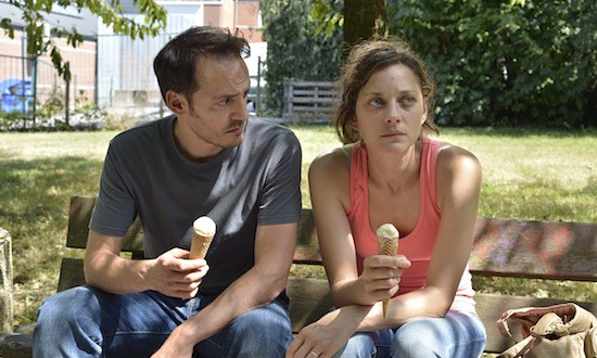 Fabrizio Rongione and Marion Cotillard in Two Days, One Night