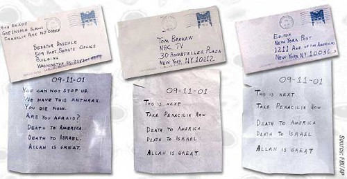 facsimiles of anthrax letters during earlier scare in 2001