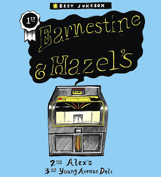 For a long time, people went to Earnestine & Hazel's for another kind of box. But now that it's no longer a brothel, they go there for the jukebox and its selection of classic Motown, blues, jazz, and soul. It goes great with a Soul Burger. - ALEX HARRISON