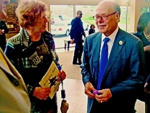 Former City Council member Pat VanderSchaaf and Congressman Steve Cohen chatted after the service.