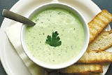 Fratelli's cold soup made of avocado, yogurt, cilantro, and other vegetables - JUSTIN FOX BURKS