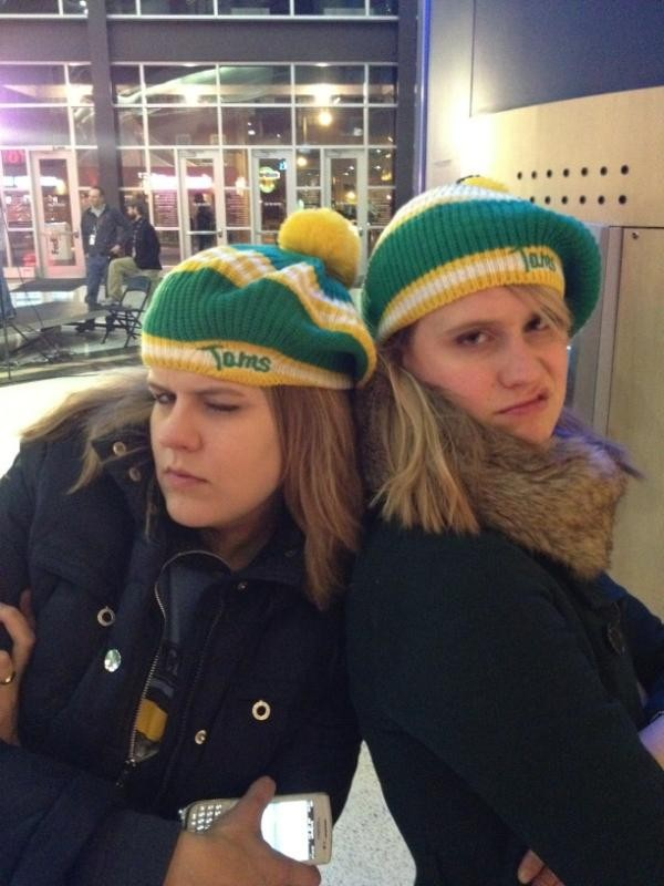 Game face: Looking tough in Tams caps. Or trying.