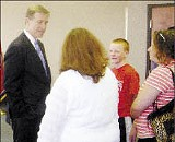 GOP gubernatorial candidate Jim Bryson greets a small band of the faithful - JACKSON BAKER