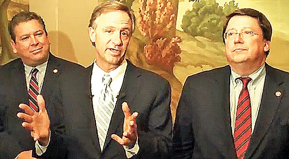 Governor Bill Haslam, flanked by House majority leader Gerald McCormick and Senate majority leader Mark Norris, puts a brave face on dissension in Republican ranks.