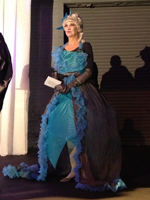 Gown made of umbrellas and cleaning scrubbers.