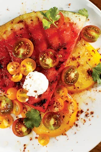 Grilled watermelon and tomato salad with chili salt and cilantro - JUSTIN FOX BURKS