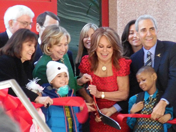 Hillary Clinton and Marlo Thomas do the ribbon-cutting for St. Jude's new Center for Global Education and Collaboration. - JB
