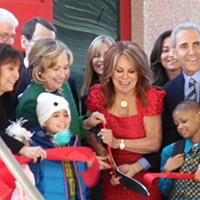 Hillary Clinton and Marlo Thomas do the ribbon-cutting for St. Jude's new Center for Global Education and Collaboration.
