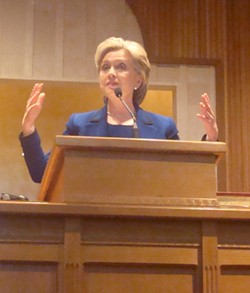 Hillary in the pulpit at Monumental Baptist - JB