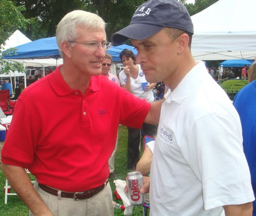 Hobnobbing before last weekend's Memphis-Ole Miss game at oxford were former Mississippi governor Ronnie Musgrove (left) and Harold Ford Jr., the Democratic nominee for U.S. senator in Tennessee. Another local hopeful attending the game, won by the Rebels, was Steve Cohen, the Democrats' nominee for Congress in the 9th District. - JB