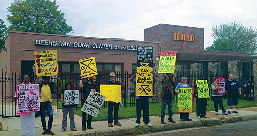 H.O.P.E. members protest outside the Beers Van Gogh Center.
