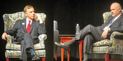 Howard Dean (left) and Fred Thompson at the University of Memphis