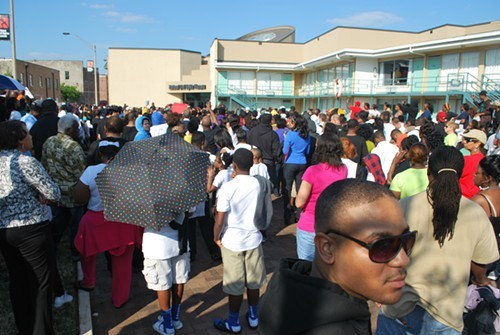 Hundreds crowded together outside the Civil Rights Museum.