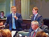 JACKSON BAKER - In a rare moment of discord, Senate GOP hard-liners Stacey Campfield (left) and Brian Kelsey (standing, right) disagree on how binding and long-lasting child-custody obligations should be.