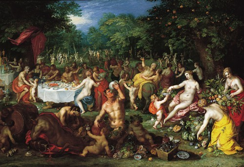 Jan Brueghel the Elder and Hendrikvan BalenI, A Bacchanal, about 1608-1616.