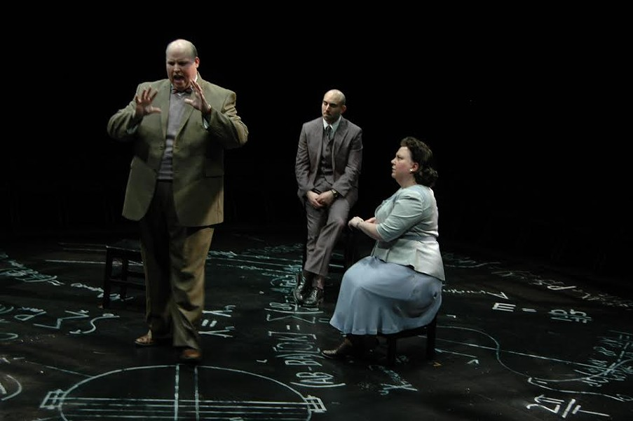 Jason M. Spitzer, Gregory Alexander and  Mary Buchignani portray real life characters in the afterlife at the center of a debate concerning memory, science and morality in Copenhagen,  February 13 - March 1, 2015, in the Next Stage at Theatre Memphis. - PHOTO BY SKIP HOOPER