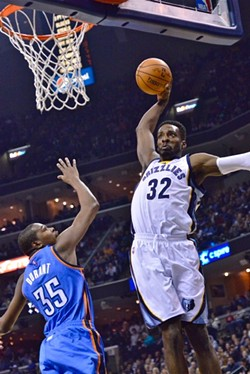 Jeff Green seconds before leaving a very large impact crater where the FedExForum used to be. - LARRY KUZNIEWSKI