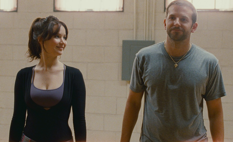 Jennifer Lawrence and Bradley Cooper in Silver Linings Playbook.