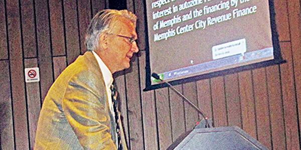 John Pontius makes his case for the AutoZone Park deal. - JACKSON BAKER