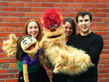 "Kelsey Hopkins as ""Kate Monster"" and Andrea Rouch and Nick Mason as ""Trekkie Monster"" in Avenue Q"