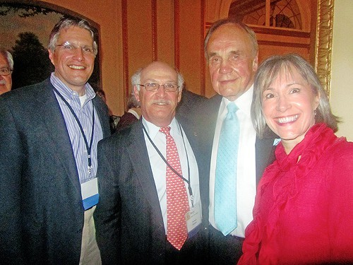 Keynoter Dick Enberg (second from right) at Memphis Rotary Clubs Sunday night kickoff of this weeks big club national conference at The Peabody. Here with (l to r) Rotary program chairman Pierre Landaiche, club president Berje Yacoubian, and Gay Landaiche.