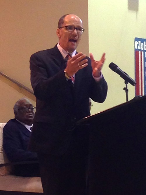 Labor Sec. Thomas Perez speaks in Memphis on Wednesday.