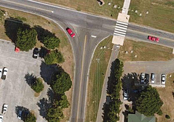 Left: Farm Road to Mullins Station today - Right: Farm Road with right turn lane added - COURTESY OF SIERRA CLUB