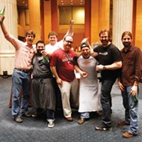 Pig Prize (left to right) Chef Chris Hastings of Birmingham; Michael Hudman of Andrew Michael Italian Kitchen; Kelly English of Restaurant Iris; Chef Lee Richardson of Little Rock; Chef Kevin Nashan of St. Louis; Brady Lowe, founder of Cochon 555; and Andrew Ticer of Andrew Michael Italian Kitchen. Justin Fox Burks