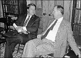 Legislative Leaders: West Tennessee may have lost some clout in the Tennessee General Assembly, but not Shelby County, which boasts both party leaders in the Senate. Here Mark Norris (left), Republican majority leader, and Jim Kyle, Democratic leader, mull over a compromise on medical tort reform. - JACKSON BAKER