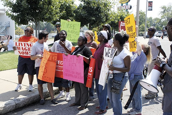 Local fast-food workers demand higher pay.
