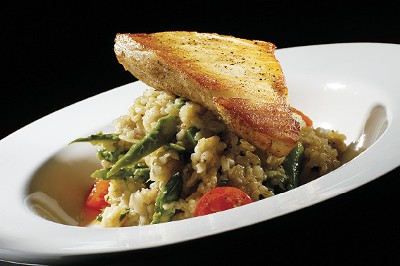 Local's sea bass with asparagus risotto - JUSTIN FOX BURKS