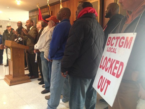 Locked-out Kelloggs workers joined city and county leaders for news conference Monday at Memphis City Hall.