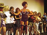 """Magentas, Columbias, and Janets compete at the Orpheum's Rocky Horror Picture Show costume contest, emceed by """"Dr. Frank-N-Furter."""""""