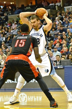 Marc Gasol had 26 in last night's win over Toronto. - LARRY KUZNIEWSKI