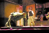 Marques Brown (right) and Audrey II in Little Shop of Horrors