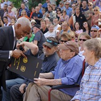 American Sound Studios Historic Marker Ceremony Mayor A C Wharton congratulates legendary record producer Chips Moman. Dan Ball