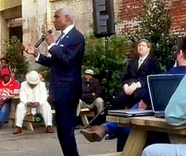 Mayor Wharton makes his case while opponent Strickland listens. - JB