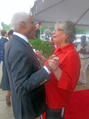 Mayor Wharton with supporter Kay Veazey