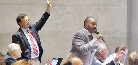 Memphis Democrat G.A. Hardaway at the microphone - JACKSON BAKER