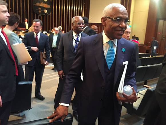 Memphis Mayor A C Wharton makes his way through the crowd at Memphis City Hall after he delivered his budget Tuesday. - TOBY SELLS