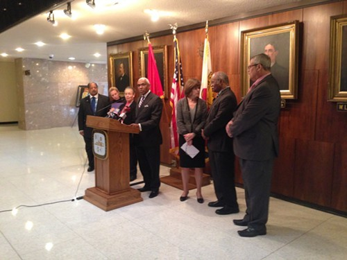 Memphis Mayor A C Wharton speaks at a Monday morning news conference on the citys way forward to process untested rape kits.