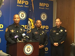 Toney Armstrong (left) discusses recent investigations at a Friday afternoon press conference.