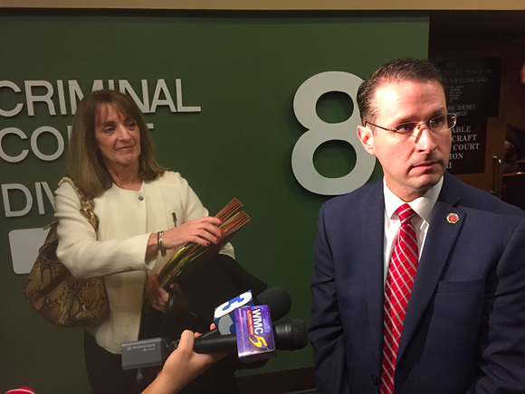 Mike Dunavant, District Attorney General for the 25th judicial district, talks to Memphis news media outside the courtroom Friday. Valerie Corder, the attorney for Noura Jackson looks on. - TOBY SELLS