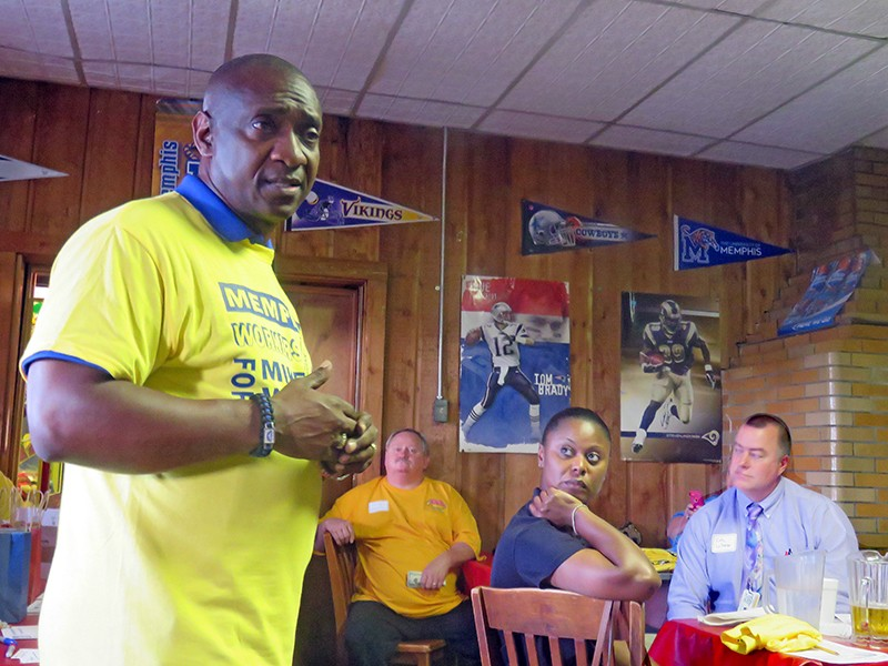 Mike Williams, with supporters at Broadway Pizza - JB