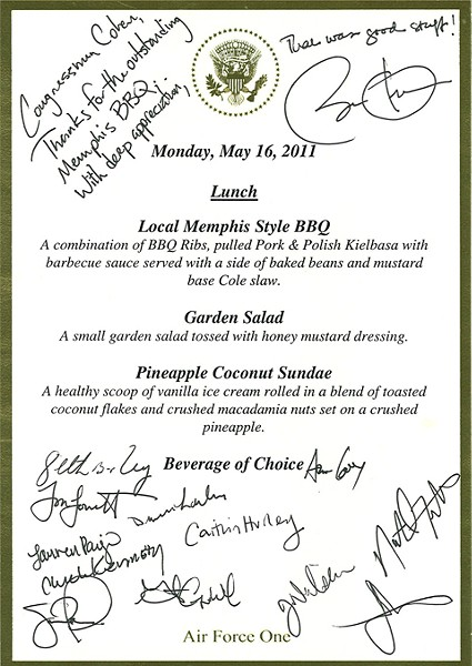 Monday's lunch menu on Air Force One