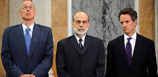 Moneymen Henry Paulson, Ben Bernanke, and Timothy Geithner