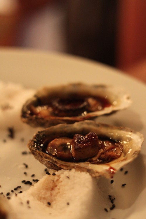 More oysters! This time barbecued and topped with fois gras.