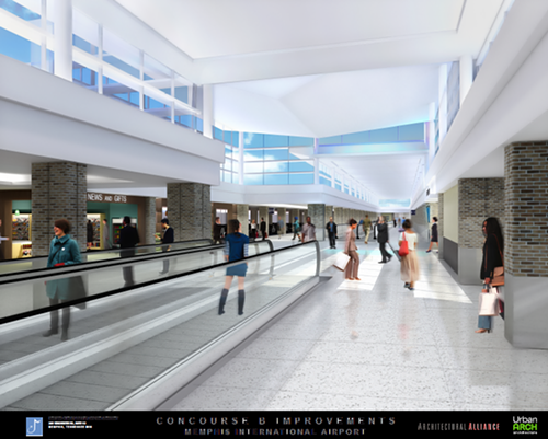 Moving walkways would be added to concourse B.