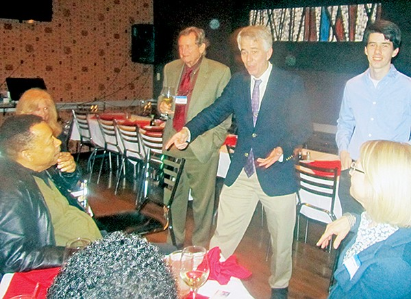 """Mulroy telling his """"Stop Thief"""" story at a fund-raiser at Mulan in the Cooper-Young district."""